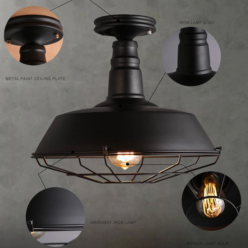 Industrial style classic black fan shaped ceiling lamp use edison industrial style classic black fan shaped ceiling lamp use edison bulb loft ceiling light cafebar decorative lighting e27 in ceiling lights from lights audiocablefo