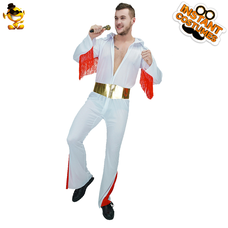 DSPLAY Temperamento Cosplay Hanno UN Ruolo Elvis Presley Vintage Colorful Tuta Della Decorazione Della Nappa Profondo Scollo A V-collare Sexy Cosplay Set