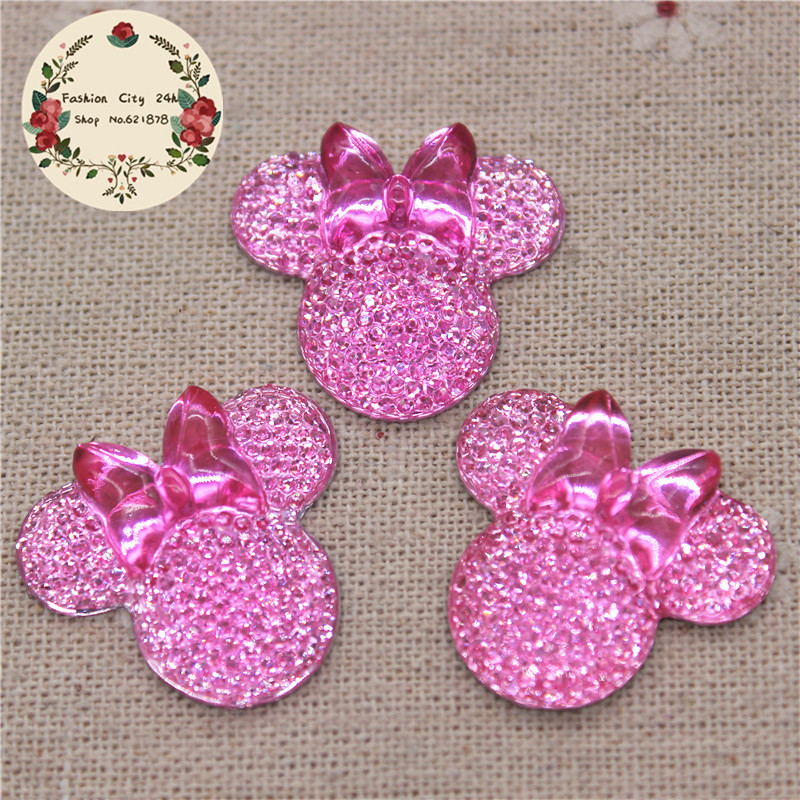 100pcs Cute Pink Resin Bling Minnie Mouse With Bowknot Flatback Cabochon DIY Hair Bow Center Scrapbooking,25*28mm