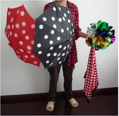 Free shipping,Polka Dot Silk & Umbrella-Magic Trick,Accessories,stage magic props,close up/mentalism,comedy light heavy box stage magic floating table close up illusions accessories mentalism magic trick gimmick