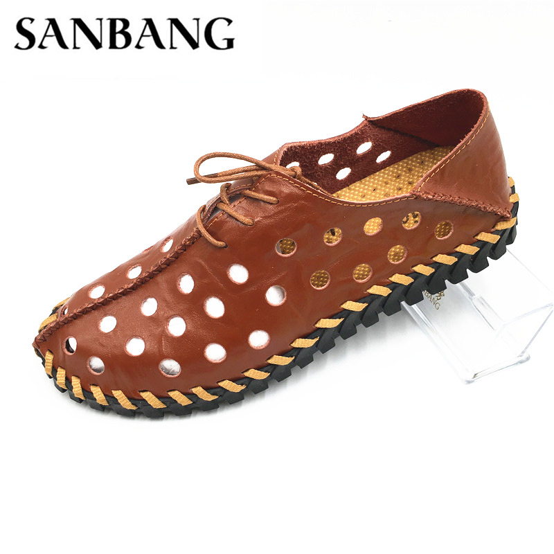 mens sandals genuine leather sandals outdoor breathable casual men leather sandals for men Beach shoes Slip-on Summer Shoes k1
