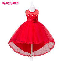Girls Party Dress Kids 2016 Flower Lace Long Tail Pink Tutu Dress For Wedding Girls Bridesmaid