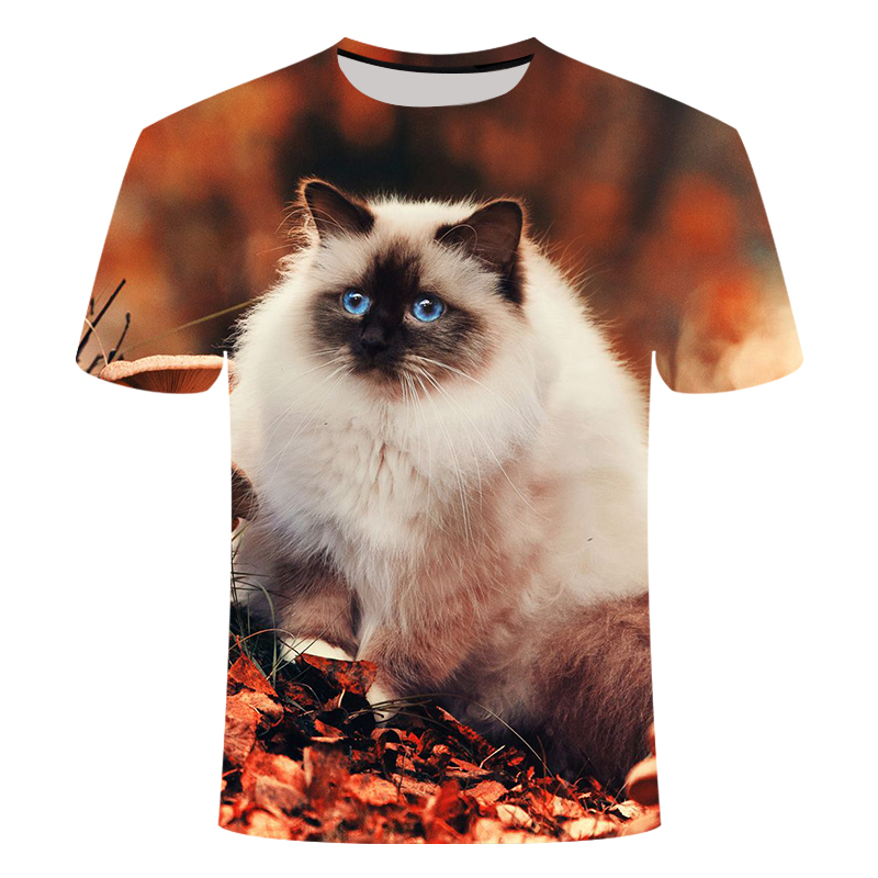 Cat Ragdoll Short-sleeved T-shirt Half-sleeved 3D Printed Tshirt Tops Men's Women's Children's Pet T Shirt Asian Size 6XL