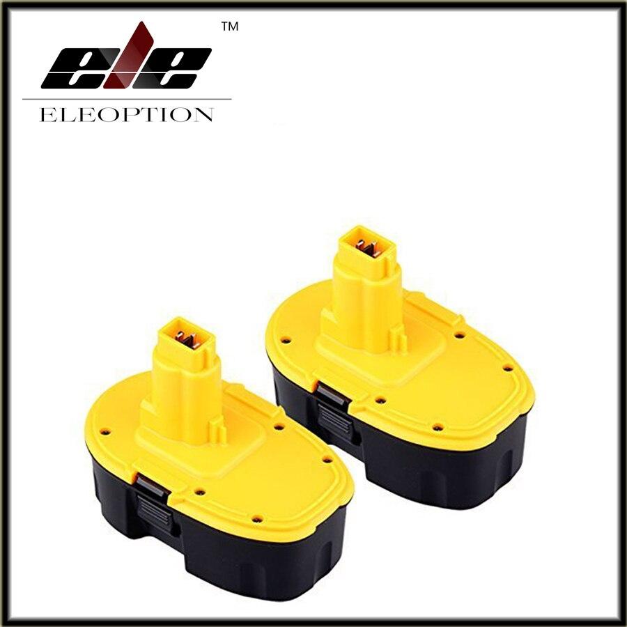 2 pcs Eleoption 18V 3.0A 3000mah Battery for DC9096 DC9099 388683-12 651034-01 DE9039 DE9095 DE9096 DE9098 DW9096 DW9095 батарея аккумуляторная для инструмента pitatel для dewalt de9503 dc9096 de9039 de9095 de9096 dw9096 dw9095 2 6ah 18v