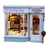DIY Doll Houses Furniture LED Lights Wooden Dollhouse Handmade Miniature Sewing Shop Model For Children Christmas
