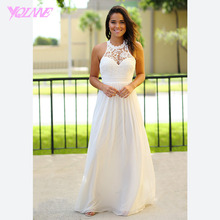 Ivory Chiffon Bridesmaid Dresses Long Wedding Party Gown Dress Halter Lace Pleats Zipper Back Vestido De Festa