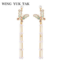 wing yuk tak Crystal Butterfly Long Earrings For Women Luxury Bohemia Imitation Pearl Tassel Drop
