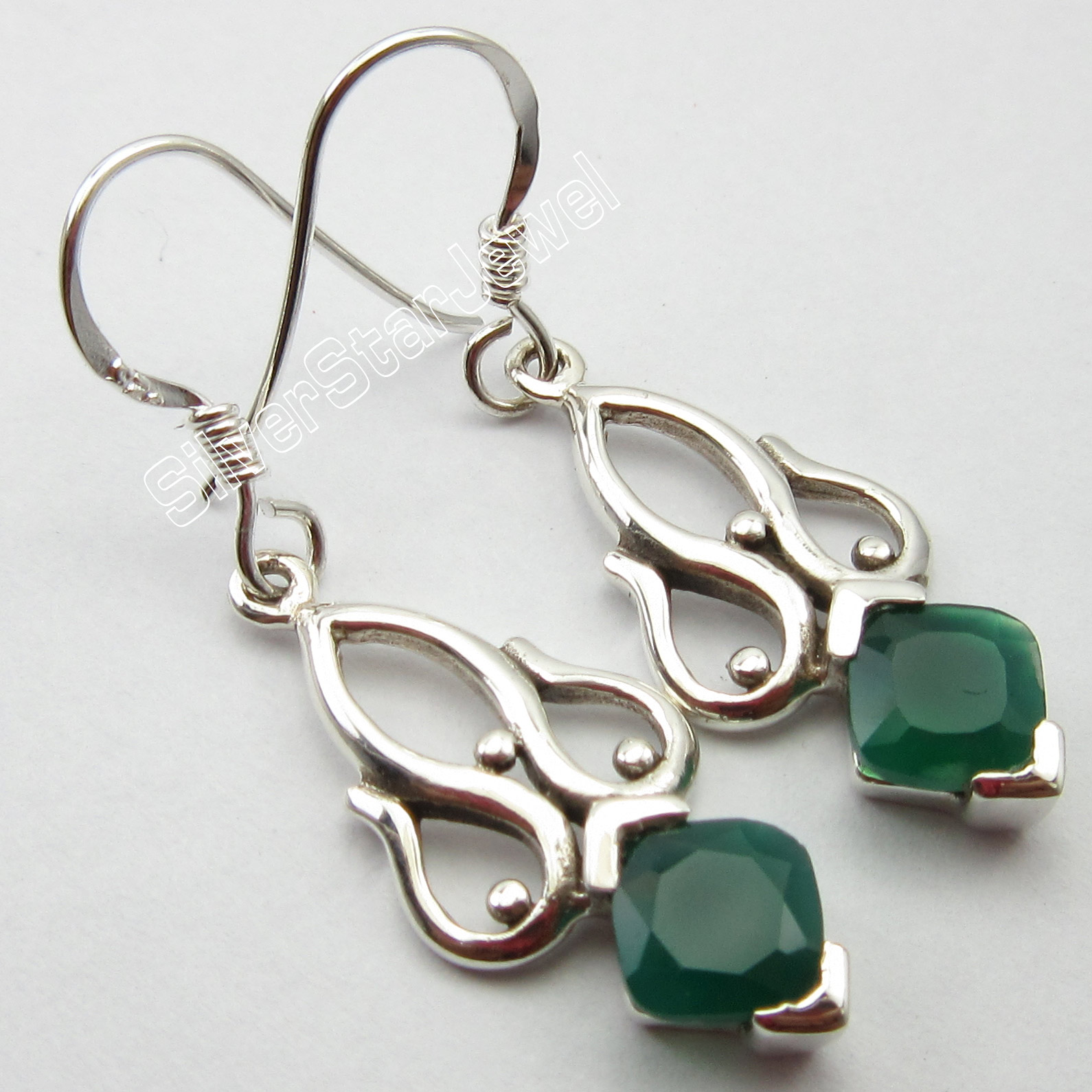 Chanti International Faceted GREEN ONYX Gem 92 5 Pure Silver FRENCH WIRE Earrings 3 9 CM