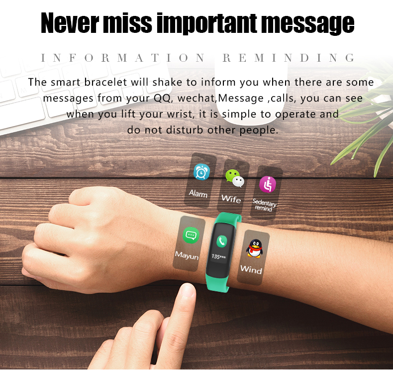 P7 Smart Wristband Bluetooth 4.0 Band Heart Rate Monitor Sport IP67 Waterproof OLED Smartband Bracelet For Android IOS Phone (9)
