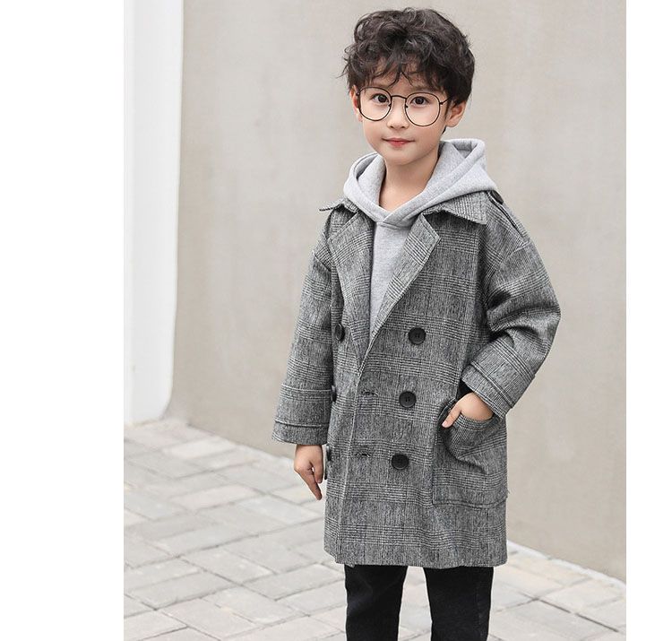 gray plaid pockets long jackets for baby boys fashion trench coats clothing kids autumn children outerwear tops clothes new 2018 (8)