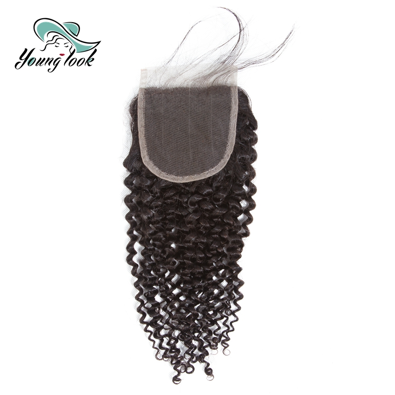 Young Look Brazilian Hair Weave Kinky Curly 4*4 Lace Closure Natural Color Human Hair Swiss Lace Closure Non Remy Hair(China)