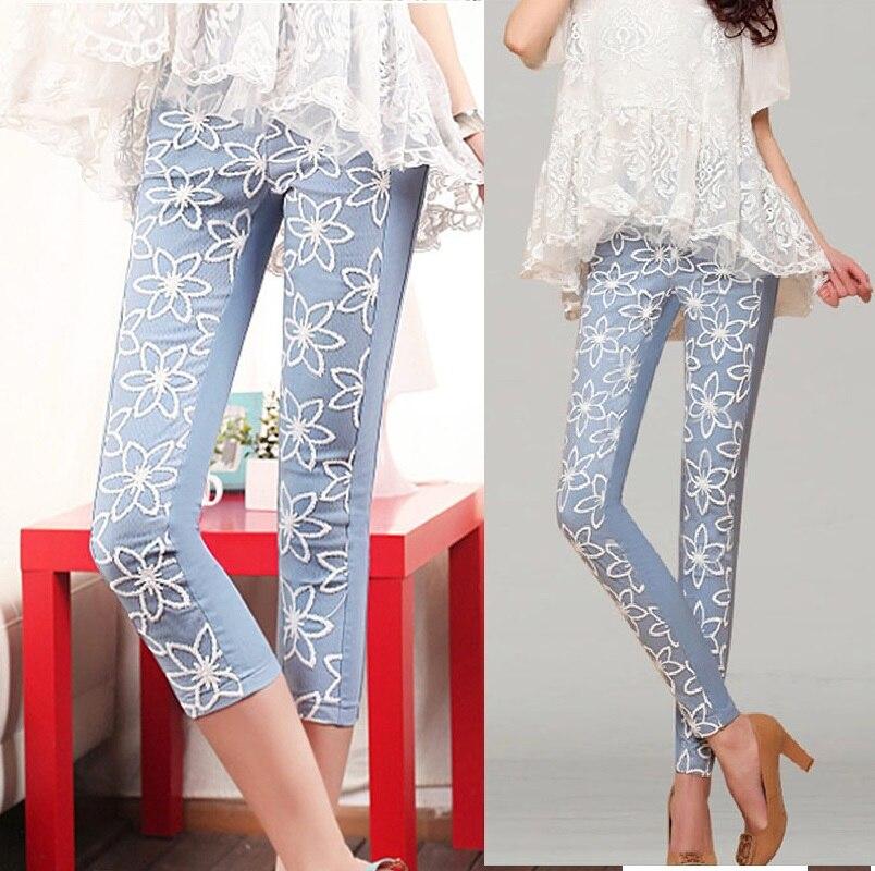 2015Women New Plus size skinny Lace pants Elastic Waist Casual Candy Color slim Cropped Pants Capri pants leggings trousersXXXXL