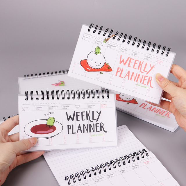 Japanese Cuisine Cartoon PVC Weekly Planner Coil Notebook Diary Day Planner  Journal Record Stationery Office School Supplies 1c15bd7594