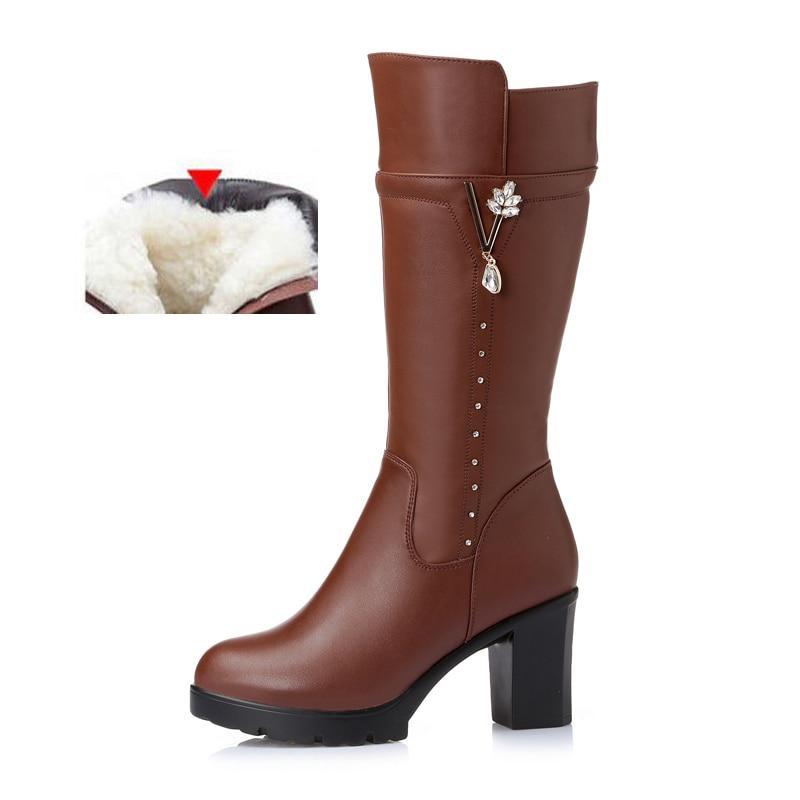 Las Negro Tacón Botas Del Genuino Cuero Caliente Lana Alto Snowoots 1 Antideslizante 2 Negro 2018 marrón Invierno Plataforma Moda De Mujeres y0FI0fWq