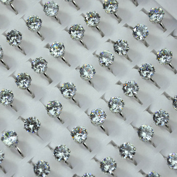 200Pcs 1.75ct AAA Zircon Engagement Rings Fashion Wedding Lots female anel Austrian Crystals Jewelry Adjustable size LR4048
