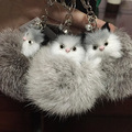 New Design Shining Fox Cat Keyrings Real Fur KeyChain Monchichi Key Ring Rabbit Fur Pom pom Llaveros