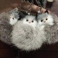 New Design brilhante Fox chaveiros gato pele Real de pele de coelho anel chave chaveiro Monchichi Pom Pom Llaveros