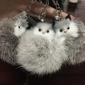 Nuevo diseño brillante Fox gato Llaveros llavero piel verdadera llavero Monchichi anillo dominante de piel de conejo Pom Pom Llaveros