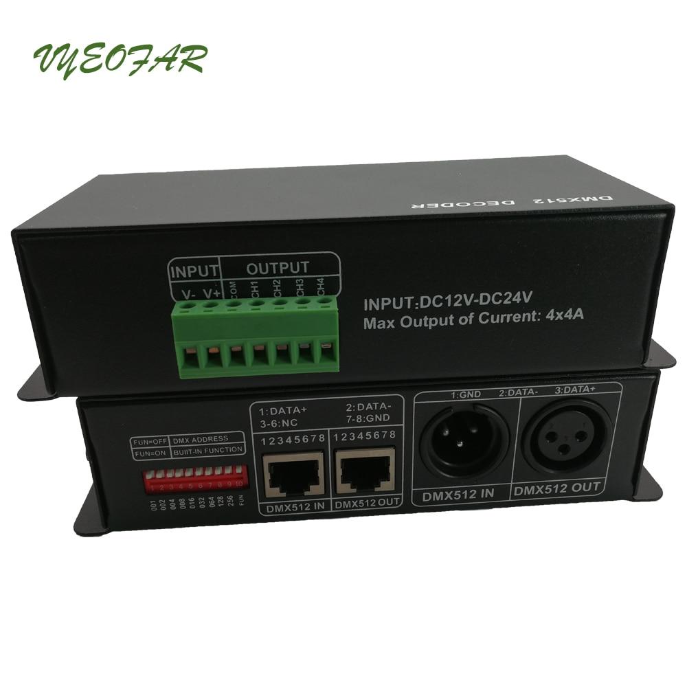 New 4CH DC12 24V Led RGBW DMX512 Decoder led DMX controller, RGB LED DMX512 decoder 4 Channel * 4A for LED Strip Light Usage