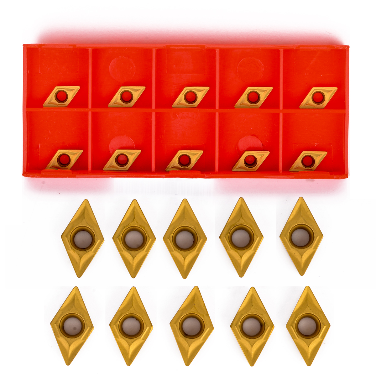 10pcs DCMT070204 YBC251 Blades Gold Carbide Inserts CNC Lathe Cutter For Lathe Turning Tool Boring Bar 7 X 7 X 2mm