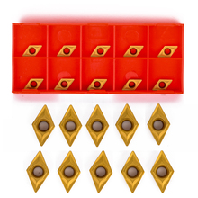 10pcs DCMT070204 YBC251 Blades Gold Carbide Inserts CNC Lathe Cutter for Turning Tool Boring Bar 7 x 2mm