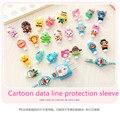 100 unids/lote cable USB Auriculares de Protección Protector de la Cubierta colorida Para iphone android cable de Datos Línea de manga envío gratis