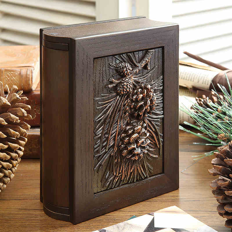 Creative vintage wooden Pine cone inserts 6 inch photo album