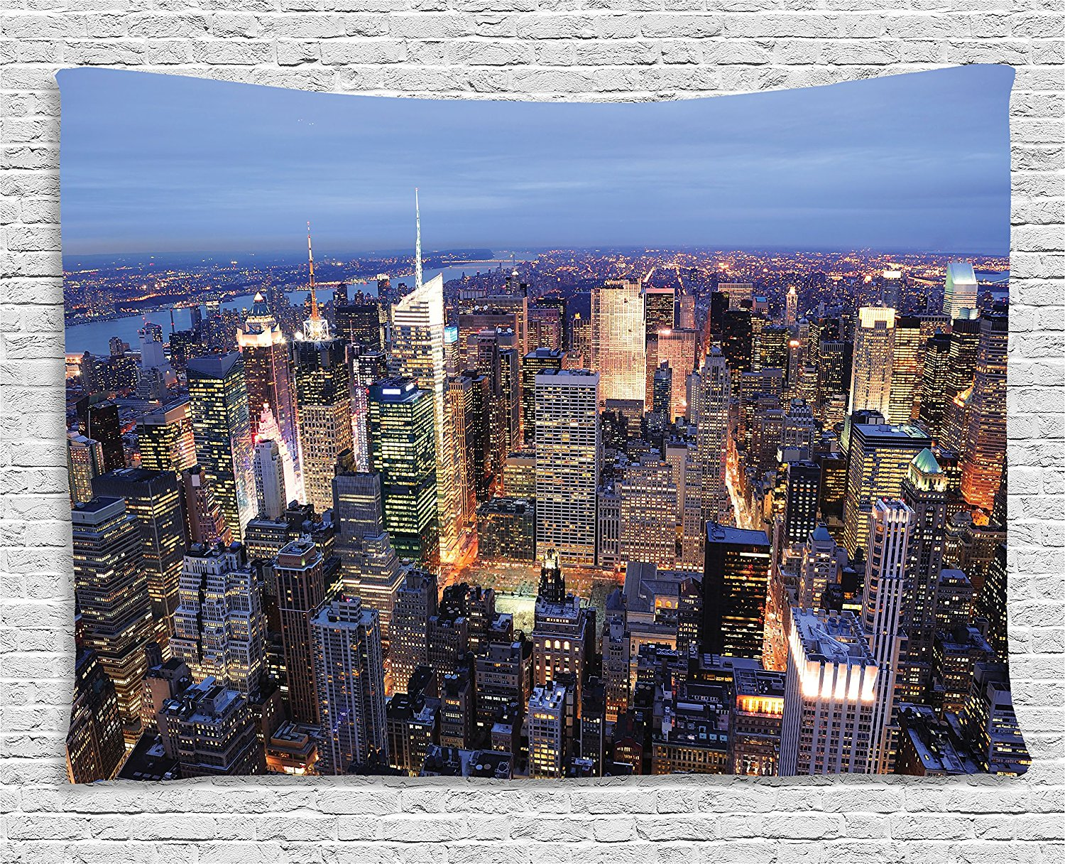 New York Tapestry Decor Aerial View of NYC Full of Skyscrapers Manhattan Times Square Famous Cityscape Wall Hanging for Dorm