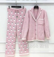 Clearance ! Autumn and Winter Women's Sweet Strawberry Print Knitted Pajamas Thicken Warm Sleepwear Flannel Nightwear
