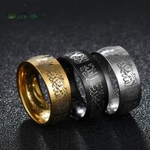 Nextvance 8mm Muslims Prayer Wedding Band Ring Gold Stainless Steel Islamism Quran Rings