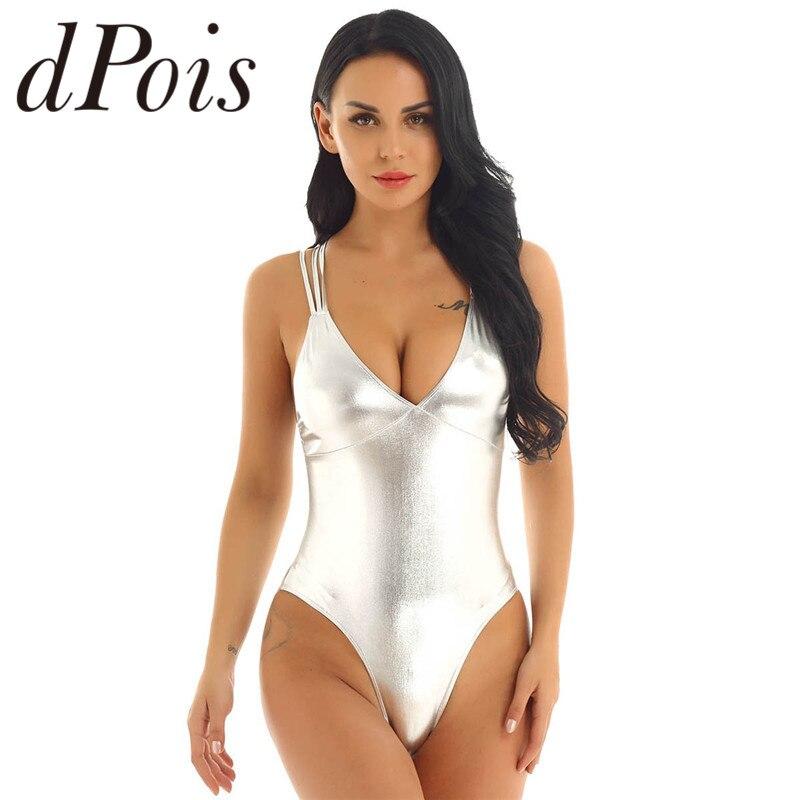 Womens One Piece Lingerie Bodysuit Shiny Metallic Monokini Swimwear Swimsuits V Neck High Cut Strappy Bathing Suits Beachwear