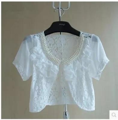 White Women Short Sleeve Beaded Shrug Bolero Lace Wedding Bridal Summer Jacket Elegant Cape Sun Protection Clothing