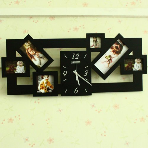 Free shipping wholesale and retail high quality acrylic material quiet movement art wall clock with photo frames, white & black