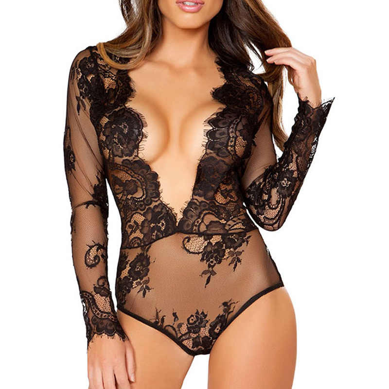 Free Shipping New Sexy Women Plus Size Bodysuit Long Sleeve Lace Deep V Neck  Bodys Mujer d8fcdf8f0