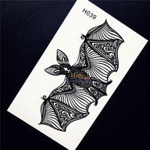 1PC Cute Lace Bat Temporary Tattoo Waterproof Body Art Stickers For Men Women Henna Arm Decal Temporary Tattoo Sticker Taty HH39