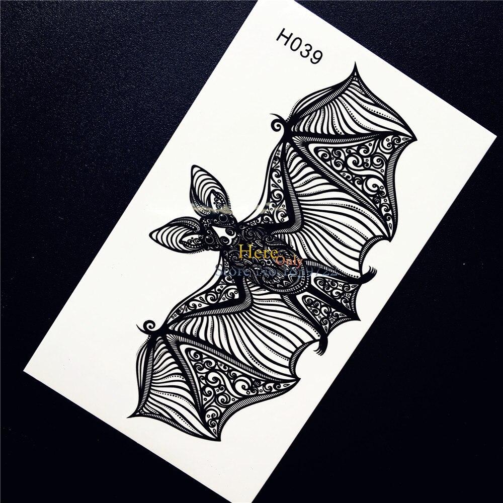 1 UNID de Encaje Lindo Bat Tatuaje Temporal Arte Corporal Impermeable Pegatinas