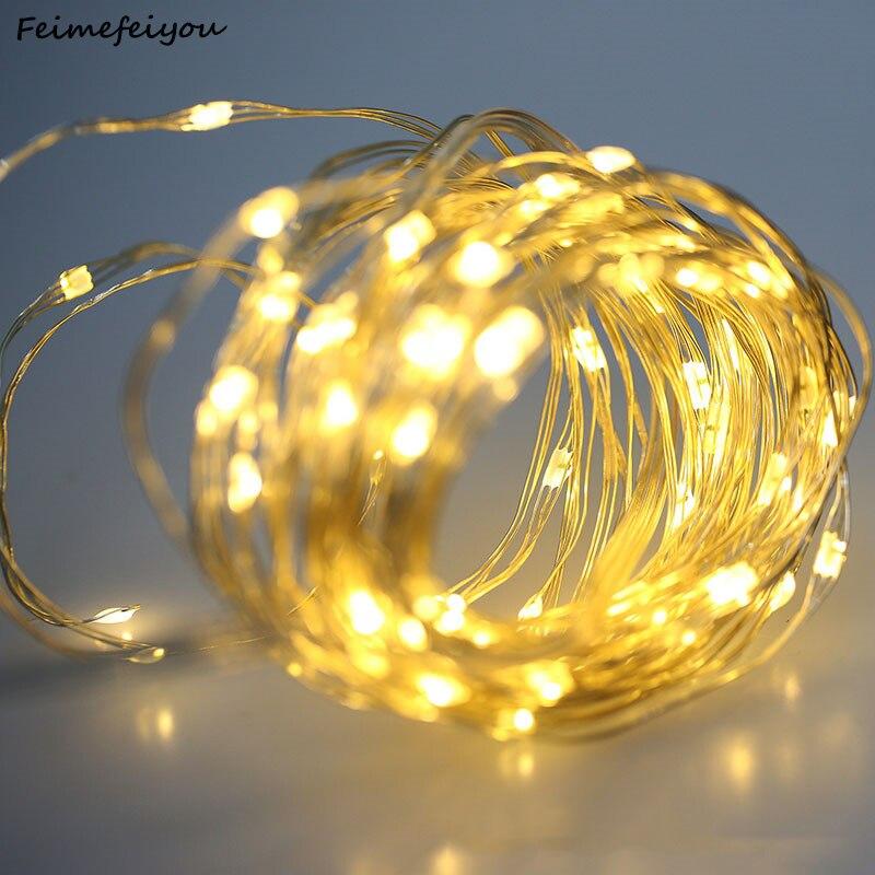 2/3/5/10 M Fio De Cobre Led Luzes Da Corda Iluminação Do Feriado Luz De Fadas Corda Guirlanda Para Decoração De Festa De Casamento De Natal