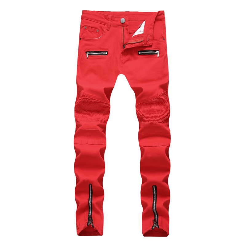 Fashion Men Jeans Slim Fit Red Jeans Homme  Zipper Fly  Pants Motor Biker Jeans Hip Hop Trousers Straight Streetwear