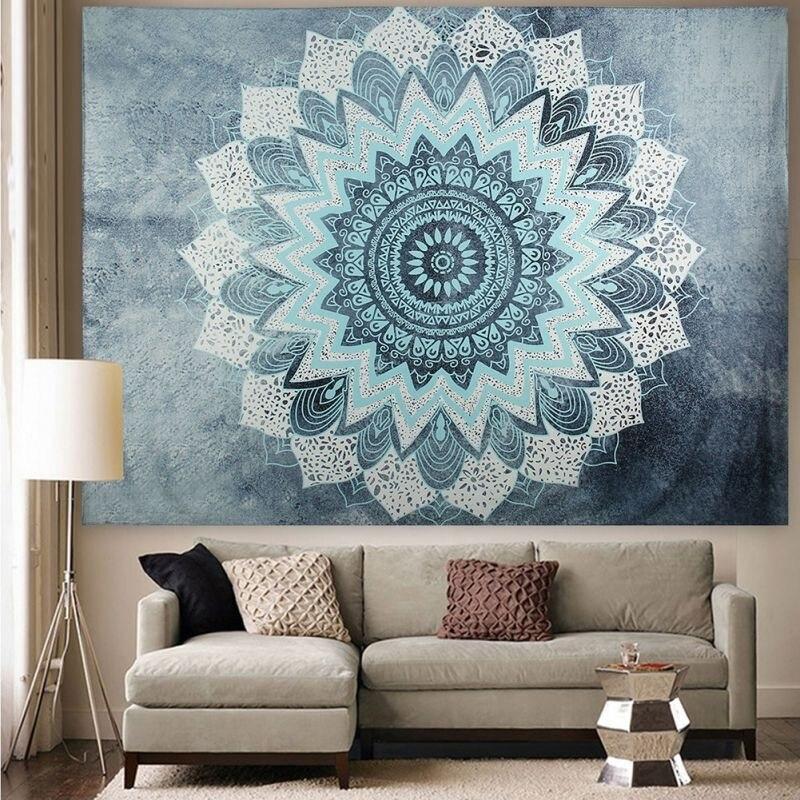 Indian Lotus Flower Tapestry Aubusson Colored Printed Decor Mandala Religious Wall Carpet Bohemia Beach Mat Blanket Plus Size