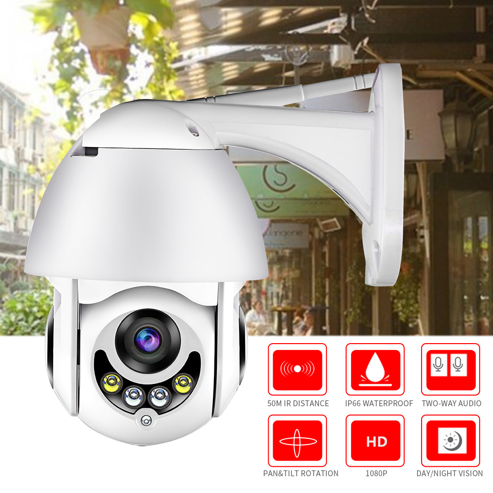 Câmera IP Sem Fio WI-FI Câmera Ao Ar Livre HD 1080P 2MP IP66 PTZ Speed Dome CCTV Câmeras de Segurança em Dois Sentidos de Áudio vigilância Cartão SD