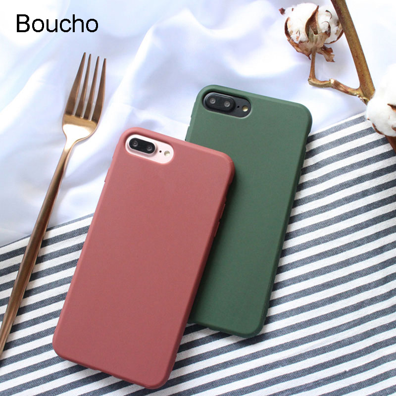 Boucho Fashion Green Case For iphone SE Cases For iphone 5 5s 6 6S 7 8 Plus Soft Silicone Scrub Back Cover Wine Red Phone Case