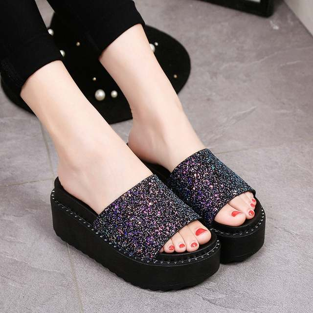placeholder Summer Glitter Sequins Sandals Woman Bling Flip Flops Platform  Sandals Beach Slippers zapatos mujer Women sandalia de911b9df2ca