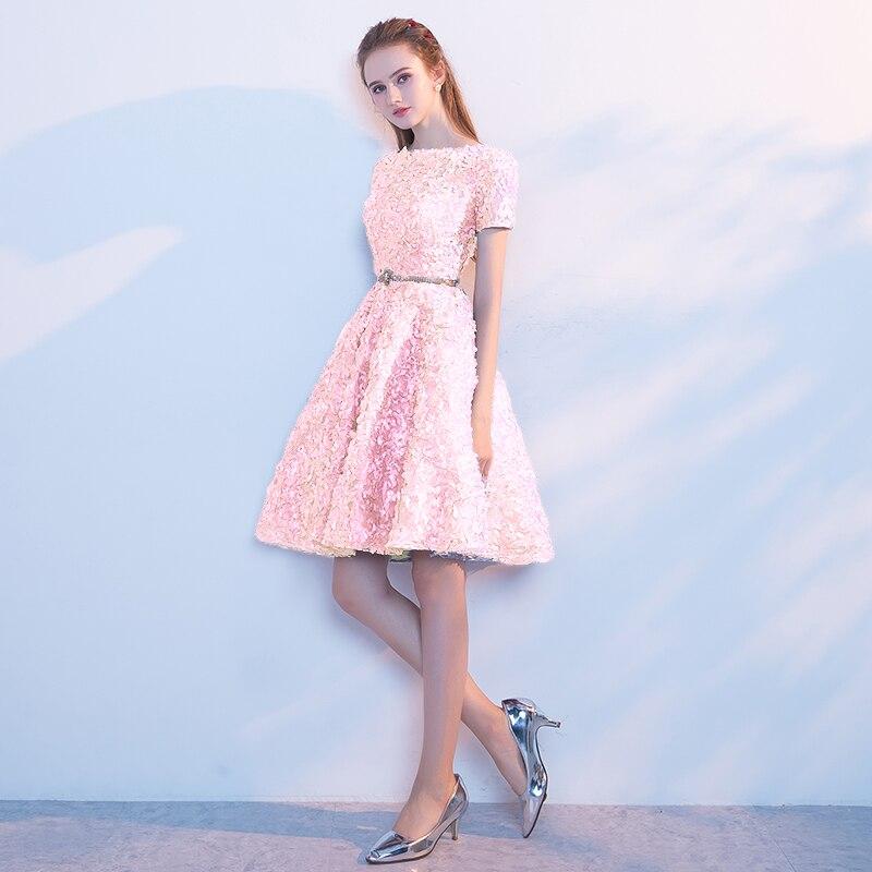 Vestido De Festa Kurze Prom Kleider Champagner Luxus Perlen Knie Länge Frauen Formale Party Kleider 2019 - 3