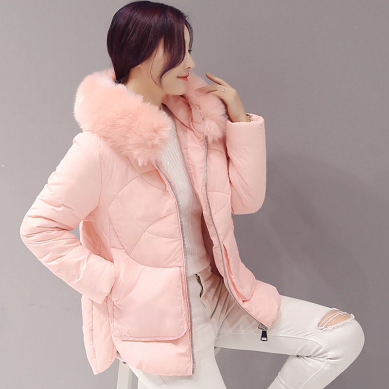 Winter Jacket women 2017 Fashion  Large Fur Collar Hooded Parka Cotton Padded Women Coat Down Wadded Jacket Female Outerwear winter jacket women large fur collar wadded padded coats jacket female hooded down cotton coat plus size 5xl parka mujer c2623