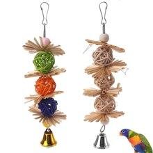 1 шт. красочный Попугай жевательные пряди кусать зубы Griding Ball Bell привлекательная Птица Попугай игрушки натуральные соломенные товары для птиц игрушки для домашних животных