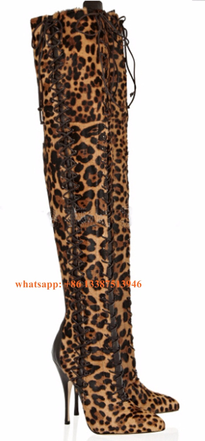 Real Picture Women Sexy Pointed Toe Leopard Suede Leather Over Knee Gladiator Boots Lace-up Long High Heel Boots Sexy Shoes