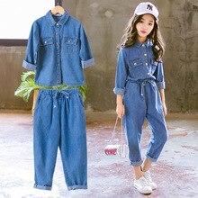 Denim çocuk giyim seti rahat çocuk iki parçalı takım katı mavi kot üstleri + pantolon genç kız Set bahar sonbahar eşofman
