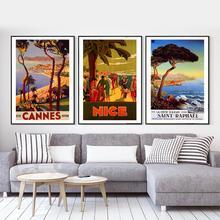 Póster de viaje Vintage para surf, Playa, Francia, bonita playa, pinturas clásicas en lienzo, pósteres de pared, pegatinas para decoración del hogar, regalo
