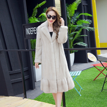 2016 winter woman fashion real mink fur with turn down collar and ruched long real mink coat