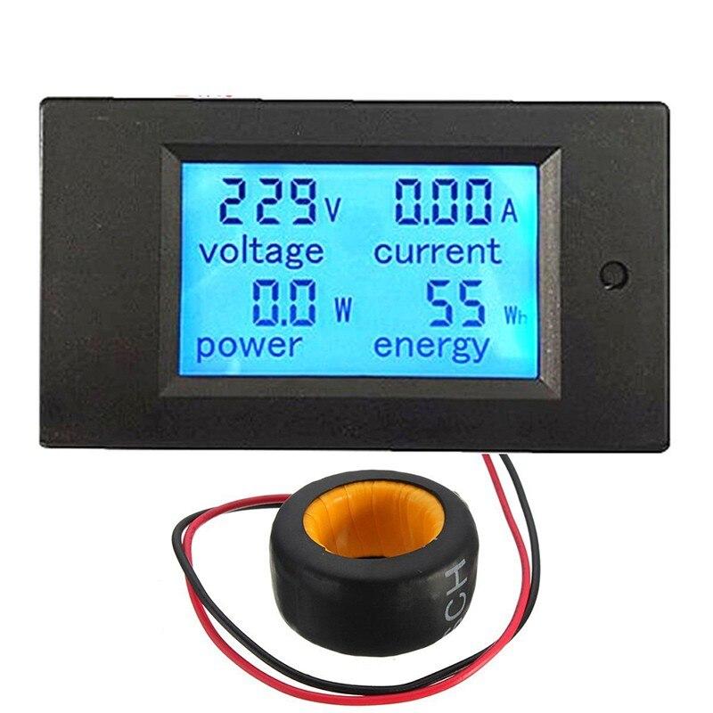 Medidor de voltagem digital medidor de tensão ac 100a/80 ~ 260 v energia voltímetro amperímetro watt atual ampères volt medidor lcd painel monitor